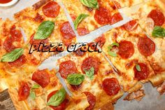"""**This gooey cheesy Pizza is light, crispy and super crunchy! It will be the easiest and yummiest part of your midweek! And as a bonus, cracking it up into pieces will be a great stress reliever. uses egg roll wrappers! Lamb Recipes, Pizza Recipes, New Recipes, Cooking Recipes, Favorite Recipes, Eggroll Wrapper Recipes, Recipes With Wonton Wrappers, Won Ton Wrapper Recipes, Egg Roll Wrappers"