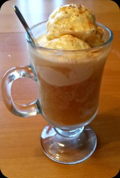 Apple Cider Float. A welcome to Fall and a goodbye to summer in one glass. Not the same as a root beer float but in the same delicious family. An awesome fall snack.