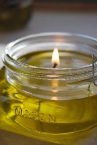 **rancid olive oil burns more efficiently, so dont throw it out* Make Your Own Olive Oil Candles. Olive oil burns clean and doesnt smoke. You can make these lanterns in any size of jar that you have on hand. Also, if you want them to be scented, you could add essential oils (or even dried or fresh herbs!) right to the oil.  Little House On The Prairie Living