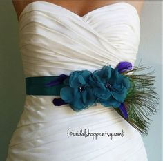 Wedding Sash Belt MALLORY - Two Teal Flowers on Teal Satin with Peacock Feathers