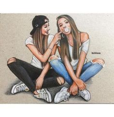 36 Ideas For Clothes Illustration Outfits Art Best Friend Sketches, Friends Sketch, Drawings Of Friends, Drawing Of Best Friends, Cute Best Friend Drawings, Best Friend Pictures, Bff Pictures, Friend Photos, Bff Pics