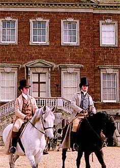 Crispin Bonham-Carter as Mr Bingley and Colin Firth as Mr Darcy in Pride and Prejudice 1995