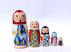 Colorful Owl Nesting dolls - Matryoshka - Russian dolls
