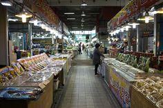 Gunsan, South Korea - May 14, 2017: Seafood market in Bieung Port