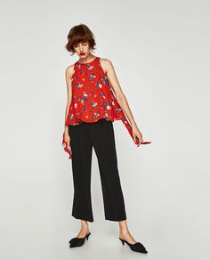 Image 1 of PRINTED TOP WITH BOW from Zara