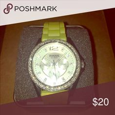 Fossil watch w/ yellow band Yellow rubber watch band with rhinestones around the face of the watch Fossil Accessories Watches