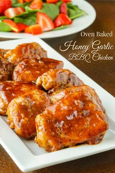 Honey Garlic Barbecue Chicken using a lower fat oven baked method, plus a seasoning secret you'll love, to make an easy, utterly delicious chicken dinner. Bbq Seasoning, Side Dishes For Bbq, Main Dishes, Honey Bbq, Baked Chicken Recipes, Turkey Recipes, Honey Garlic Chicken, Barbecue Chicken, Yum Yum Chicken