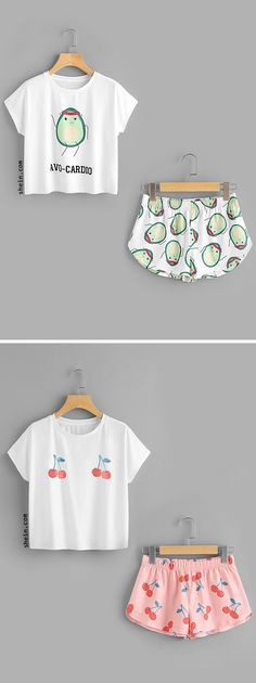 Cartoon Avocado Print Tee And Shorts Set rsrs Cute Pajama Sets, Cute Pjs, Cute Pajamas, Pajama Outfits, Disney Outfits, Cute Lazy Outfits, Summer Outfits, Teen Fashion, Fashion Outfits