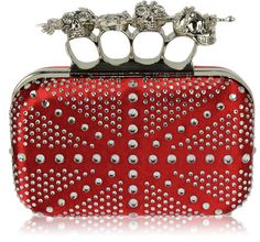 """Size: 6.5"""" Wide x 3.6"""" High.      This clutch evening bag with skull knuckle rhinestone handle.      Slightly padded soft to the touch.      Long chain included."""