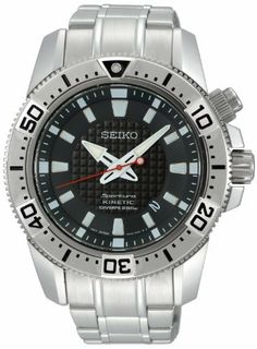 Seiko Stainless Steel Sportura Kinetic Diver Black Dial Link Bracelet Seiko. $304.00. Quartz Movement. 200 Meters / 656 Feet / 20 ATM Water Resistant. 44mm Case Diameter. Sportura Collection. Synthetic Sapphire Crystal