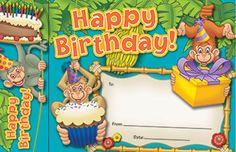 Happy Birthday Monkeys Bookmark Awards by Edupress $4.99
