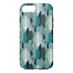 Green Blue Leaf Pattern iPhone 8/7 Case - pattern sample design template diy cyo customize