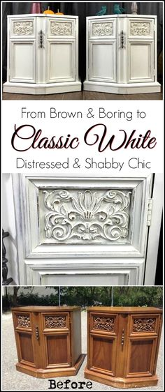 Vintage tables transformed from brown and boring to class white and shabby chic using chalk type  paint. White distressed was the perfect choice for these tables to bring out the ornate scroll details.