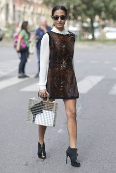 white top layered under a  brown sheath dress with wire bag, street style chic fashion www.herfashionedlife.com
