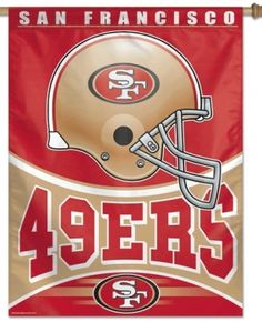This San Francisco football banner makes a great decoration outside or inside the home hanging in the kid's room, rec room, or sports room of any fan of NFL team San Francisco Football Banner, Nfl Football Helmets, Football Team, Nfl 49ers, 49ers Fans, Forty Niners, Car Flags, Nfl San Francisco, Indianapolis Colts