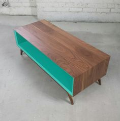 Console // MidCentury Modern // Handmade // Solid walnut by brassandbark on Etsy.com