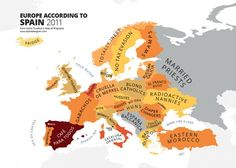 How Spain see Europe. Maps Stereotypes From Around The World by Yanko Tsvetkov