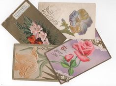 4 Vintage and antique postcards for scrapbook, collage, collecting. Floral designs, embossed, gold accents. greetings and best wishes. by PickleladyPapers on Etsy