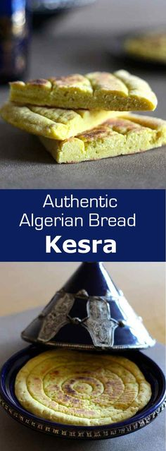 Kesra bread is a traditional flatbread made from Algerian semolina served both in savory and sweet meals. Biryani, Algerian Recipes, Algerian Food, Vegan Desserts, Vegan Recipes, Yummy Recipes, Recipies, Ma Baker, Vegan Bread
