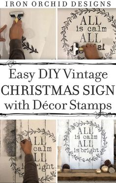 Learn to make this beautiful custom Christmas Sign using Iron Orchid Decor Stamps.  A DIY this custom look for your mantle or front porch today! #DIYChristmasSign #ChristmasTutorial