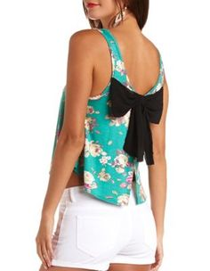 bow-back floral print swing crop top (CHARLOTTE RUSSE)