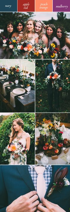 Moody wedding color palette featuring oranges, reds, and blues Red Bouquet Wedding, Wedding Bridesmaids, Wedding Flowers, Wedding Dresses, Summer Wedding Colors, Autumn Wedding, April Wedding, Wedding Themes, Wedding Decor