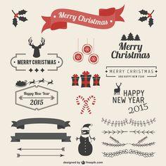 クリスマスデザインに使えるお洒落な見出しタイトルベクター