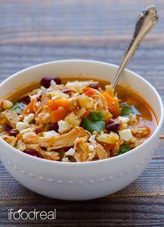 Spicy buffalo crock pot chicken tortilla soup recipe! So easy to make!