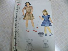 1940 Simplicity 4103 Size 6 Girls Dress Sewing Pattern Supply Heartshaped Neckline Mother Daughter Fashion Patch Pockets Crescent Sleeves FF by CarolinaJayPatterns on Etsy