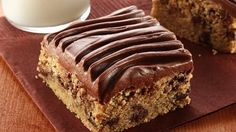 Gluten-Free Peanut Butter Chocolate Chip Bars with Chocolate Frosting.......... Whip up delicious dessert bars using gluten free chocolate chip cookie mix.