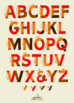 Single-Stroke-Lettering How-To-Poster Siebdruck Poster von Mike Meyer und Otto Baum Cool Lettering, Types Of Lettering, Block Lettering, Brush Lettering, Lettering Design, Vintage Typography, Typography Letters, Cursive Calligraphy, Chalk Typography