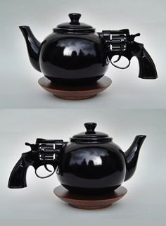 Let's Talk It Over by Dennis Shields  #Gun #Tea. I need this for my tea pot collection
