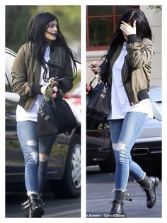 Kylie Jenner - Topshop Military Green Bomber Jacket - street style - October 2014