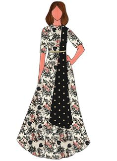 Buy Cream Digital Printed Taffeta Silk Anarkali Suit online, SKU Code: SLBS1803963. This Black  color After Six anarkali suit for Women comes with Sequins  Net . Shop Now!