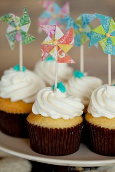 Kylie, wanna help me make these for Tucker's party? We could have a pinwheel craft party?   pinwheel cupcake toppers