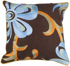 Brown & Blue Flowers Pillow Cover  from Surya-that perfect finishing touch!