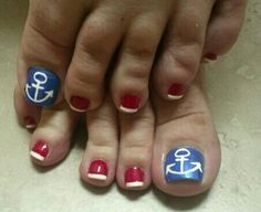 Nautical red white & blue toe nail art  I love this!  I think I should have it for my cruise!