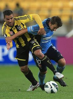 06 Oct 2012. Alessandro Del Piero of Sydney FC is tackled by Emmanuel Muscat of the Phoenix.