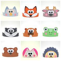 Forest Animals Paper Crowns Set. 10 DIY Crowns Template. Wild Animals Paper Hats Handmade Template kit. DIGITAL
