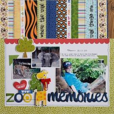 #papercrafting #scrapbook #layout - Bella Blvd The Zoo Crew collection. Zoo Memories layout by creative team member Becki Adams.