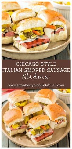 Chicago Style Italian Smoked Sausage Sliders feature Eckrich Smoked Sausage, provolone and giardiniera on a slider roll.  A twist on the classic sandwich, you'll love this bite sized version even more! AD #GiveLifeMoreFlavor @Eckrich  |  Strawberry Blondi