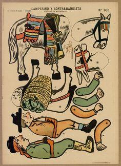 "Pantin ""Campesino y contrabandista. Figuras de movimiento"", [1915] Fons Joan Amades #dolls #paperdolls #puppets #pantins"