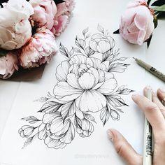 Design Tattoo, Floral Tattoo Design, Tattoo Design Drawings, Flower Tattoo Designs, Tattoo Sketches, Flower Tattoos, Tattoo Fairy, Tattoo On, Tattoos Skull