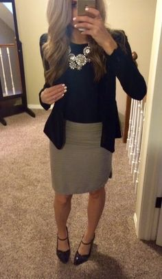Love this tan pencil skirt with black, statement necklace--classy