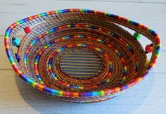 Decorative and functional. So cheerful! Rainbow Basket Pine Needle Basket Storage Basket Pine Coiled Basket Native American Art One Of A Kind Gift For Him Gift For Her Home Decor by CruisinCreations on Etsy