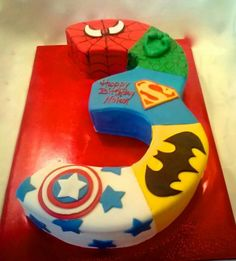 Super hero number 3 cake or any other number! Description from pinterest.com. I searched for this on bing.com/images