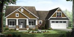 This set of House Plans makes a lovely Craftsman Bungalow.
