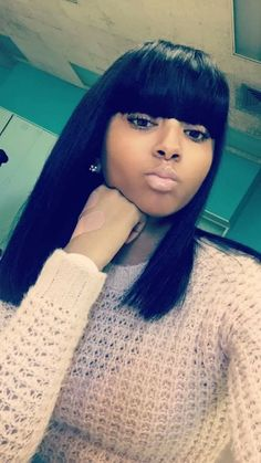 27 Best Stacked Bob Hairstyles of 2019 - Style My Hairs Stacked Bob Hairstyles, Bob Hairstyles With Bangs, Dope Hairstyles, Black Girls Hairstyles, Quick Weave Hairstyles Bobs, Braided Hairstyles, Sew In With Bangs, Wigs With Bangs, Quick Weave Styles