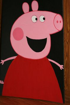 Peppa Pig Feed The Pig Party Game - Cut out mouth to toss bean bags through.