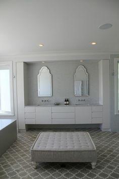 These tiles - pale grey arabesque Edwardian Bathroom, Beautiful Bathrooms, Small Bathrooms, Hamptons House, Bathroom Inspiration, Bathroom Ideas, Coastal Cottage, Tile Floor, Flooring